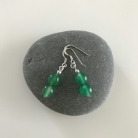 Agate sea green gemstone earrings with sterling silver ear wires