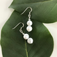 Howlite white marbled gemstone earrings with sterling silver ear wires