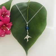Sterling silver bird necklace with Lapis Lazuli gemstone