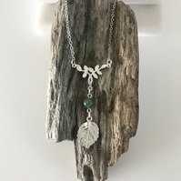 Eye catching sterling silver leaf necklace