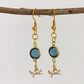 Blue glass gold plated dangle earrings with bird charms