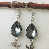 Smokey grey gemstone dangle earrings with sterling silver ear wires