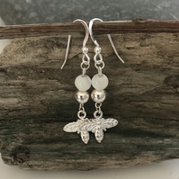 Mother of pearl gemstone and bumble bee earrings with sterling silver ear wires