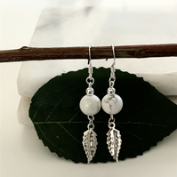 Howlite gemstone earrings with sterling silver ear wires and leaf charms