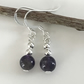 Amethyst gemstone bead earrings with sterling silver ear wires.
