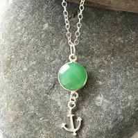 Chrysoprase sea green sterling silver necklace with anchor charm, gift for her