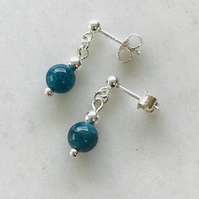 Sterling silver and blue apatite gemstone earrings , gift for her, anniversary