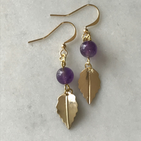 Amethyst gemstone dangle earrings with gold leaf charm and fish hook ear wires