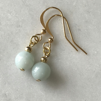 Amazonite sea blue and gold dangle earrings, gift for her, anniversary gift