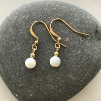 Mother of pearl white and gold earrings, gift for her, anniversary, gift for mum