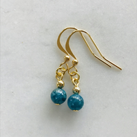 Apatite teal blue and gold gemstone bead earrings, gift for her, anniversary