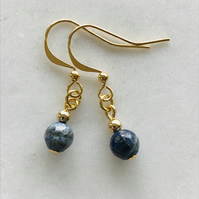 Lapis lazuli deep ocean blue gemstone and gold earrings