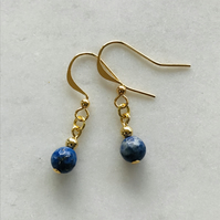 Lapis lazuli navy blue and gold gemstone earring, anniversary gift, gift for her