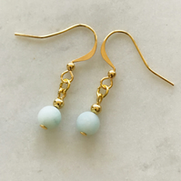 Frosted Amazonite blue and gold dangle earrings, simple, casual, everyday.