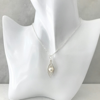 Handmade pea pod necklace with cream Swarovski Crystal pearl bead.