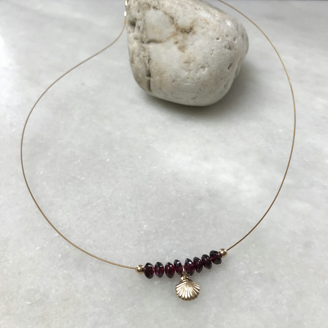 Handmade garnet rondelle bead necklace with gold fill shell  charm