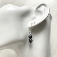 Black and white marbled semi precious earrings with sterling silver ear wires