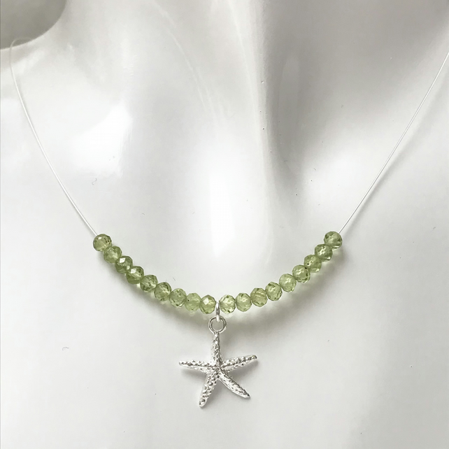 Peridot sea green gemstone bead necklace with sterling silver starfish charm