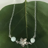 Sterling silver flower necklace with amazonite gemstone beads