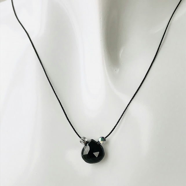 Black faceted heart spinel gemstone cord necklace with crystal glass beads