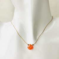 Carnelian sunset orange briolette gemstone  necklace