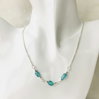 Handmade blue apatite gemstone bead necklace