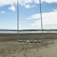 Frosted Amazonite multicoloured semi precious bead beach inspired necklace