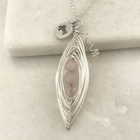 Handmade rose quartz pea pod necklace, mum stamped charm