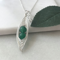 Handmade green pea pod necklace, emerald green May birthday