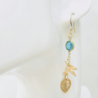 Gold plated bird earrings, turquoise  glass and golden leaf, boho earrings