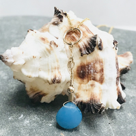 Sea blue chalcedony briolette necklace with gold filled findings and chain
