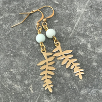Leaf dangle earrings with frosted amazonite gemstone beads, gift for her