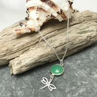 Sterling silver dragonfly sea green chrysoprase gemstone necklace