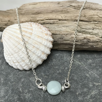 Sky blue amazonite coin bead necklace, ladies necklace, gift for her.