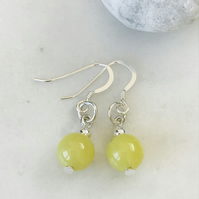 Lemon Jasper semi precious earrings with sterling silver ear wires, gift for her
