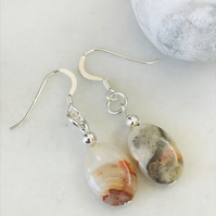 Crazy lace agate semi precious earrings with sterling silver ear wires