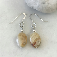 Crazy lace agate semi precious earrings, gift for her
