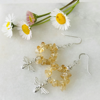 Handmade Citrine And Sterling Silver Bee Earrings