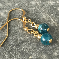 Apatite ocean blue and gold gemstone bead earrings, gift for her