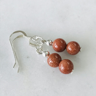 Goldstone brown glass bead earrings with sterling silver ear wires, gift for her