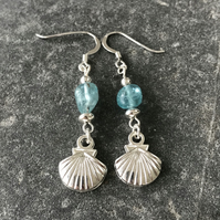 Apatite nugget sea blue and sterling silver earrings