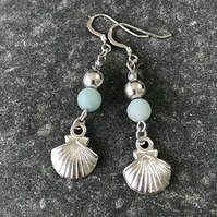 Amazonite frosted Aqua sea blue earrings sterling silver earwires,gift for her