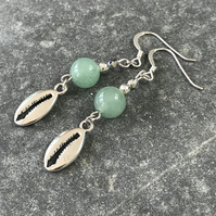 Jade gemstone bead earrings with shell charms and sterling silver ear wires