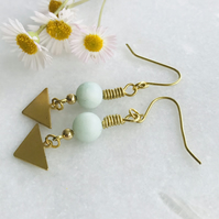 Frosted Amazonite And Brass Dangle Earrings