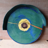 Ceramic, sunflower, crack and repair style tray or dish