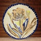 Beautiful free-hand flower decorated ceramic trivet, oven to table ware
