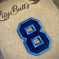 Embroidered Iron on Patch - Number 8 - Blue 52mm x 35 mm