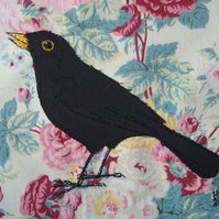 Floral Blackbird Embroidered Portrait
