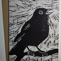 Blackbird Singing Greetings Card