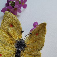 Brimstone Yellow Butterfly Embroidered Brooch